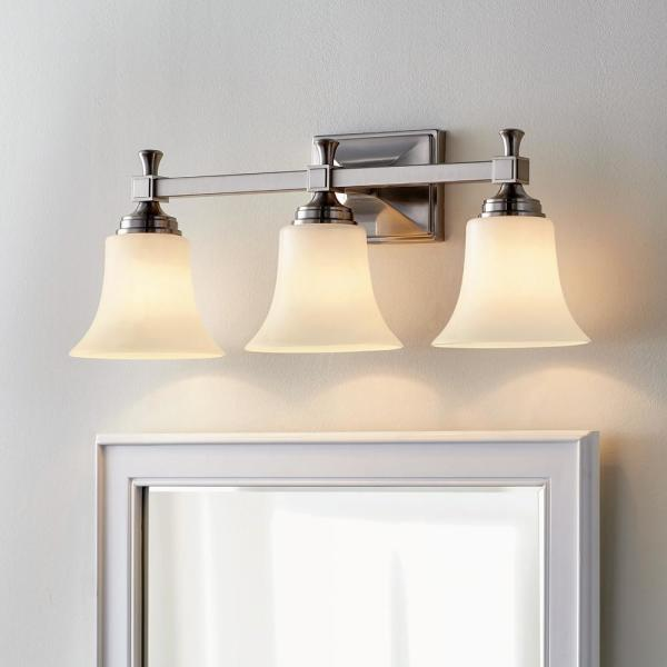 Home Decorators Collection Pearson Heights 3 Light Satin Nickel Vanity Light With Opal Glass Shades Hd 1380 I The Home Depot
