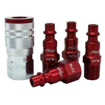 ColorFit by Milton Coupler and Plug Kit M-Style Red 1/4 in. NPT (5-Piece)
