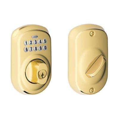 Plymouth Bright Brass Keypad Electronic Deadbolt