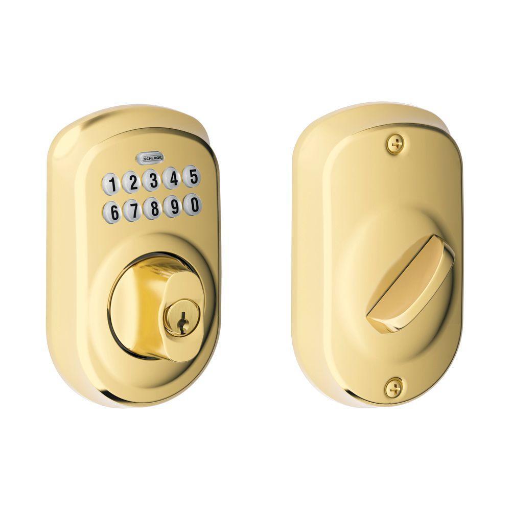 Schlage Plymouth Bright Brass Keypad Electronic Door Lock Deadbolt