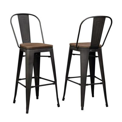 Brown Industrial Wood and Metal Bar Stool(Set of 2)