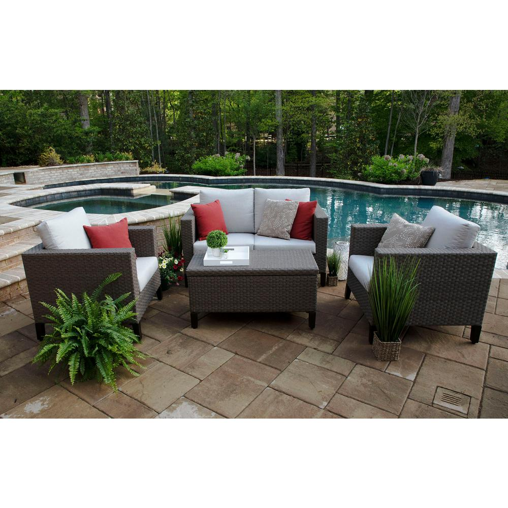 Groovy Canopy Laurel 4 Piece Resin Wicker Patio Deep Seating Set With Sunbrella Cast Silver Cushions Lamtechconsult Wood Chair Design Ideas Lamtechconsultcom