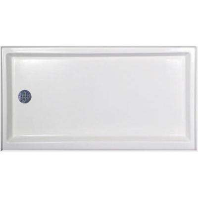 60 in. x 30 in. Single Threshold Shower Base with Left-Hand Drain in White