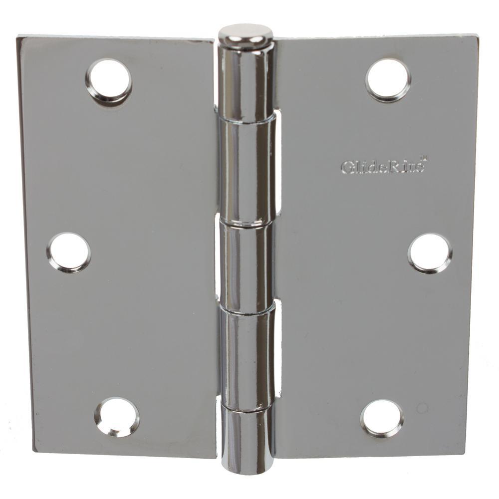 3-1/2 in. Polished Chrome Steel Door Hinges Square Corner Radius with Screws (24-Pack)