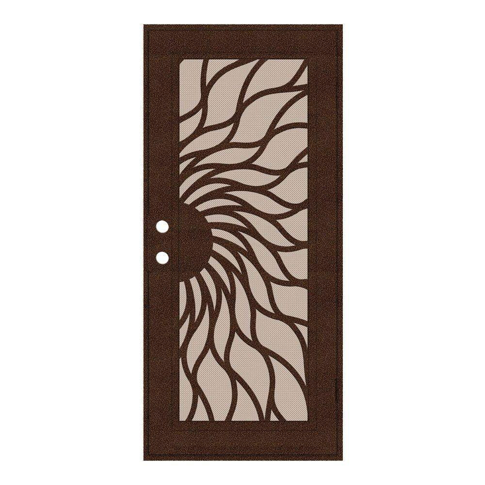 Unique Home Designs 32 in. x 80 in. Sunfire Copperclad Right-Hand Recessed Mount Aluminum Security Door with Desert Sand Perforated Screen