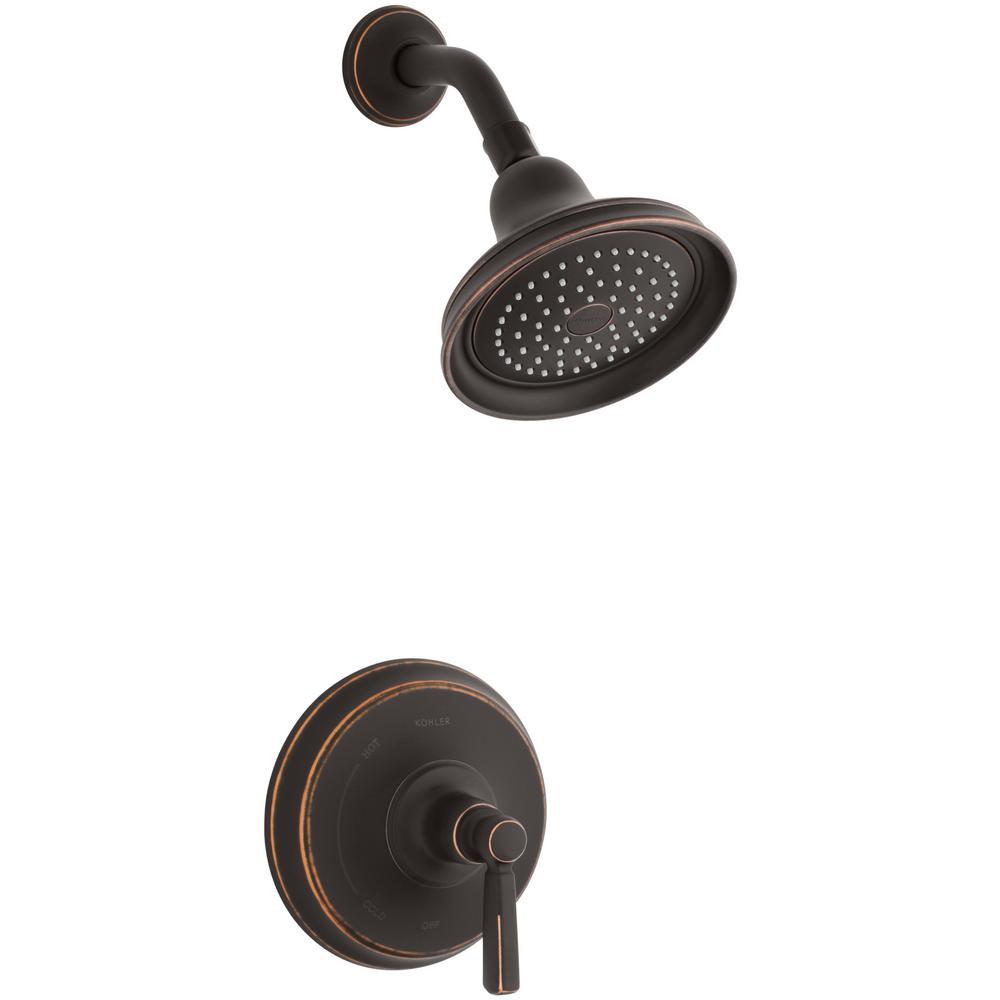 Bancroft 1-Spray 6.8 in. Single Wall Mount Fixed Shower Head in Oil-Rubbed Bronze