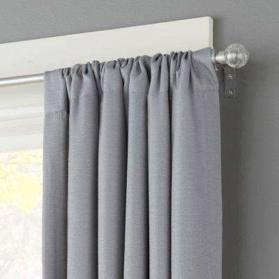 48 in. - 86 in. Telescoping 1/2 in. Curtain Rod Kit in Pewter with Crackled Glass Ball Finial