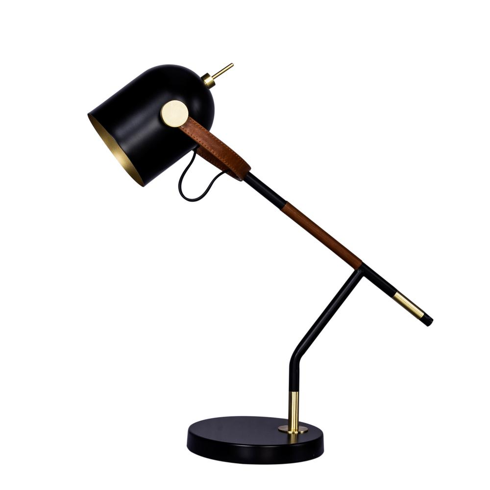 20.5 in. Wrapped Brown Leather and Black Metal Task Lamp