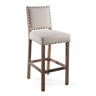 Spade Studded Armless 26 in. Counter-Height Barstool Light Beige Linen