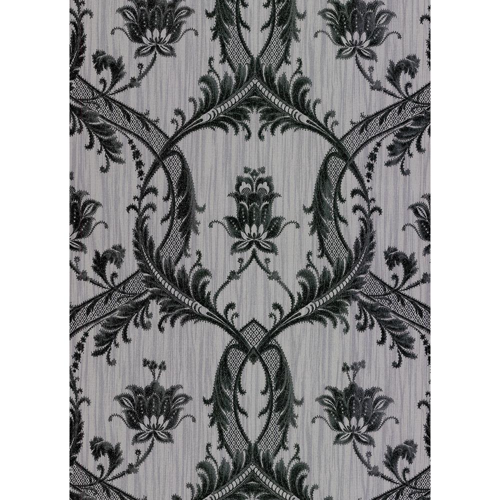Brewster 56.4 sq. ft. Vignole Grey Damask Wallpaper 2768-95565