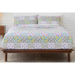 Deals on StyleWell Seavey 2-Piece Multi Blocks Cotton Twin Quilt Set