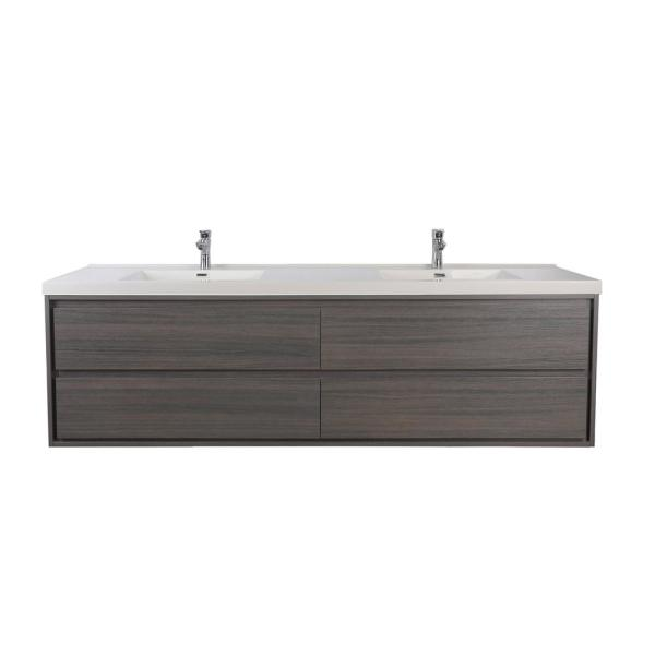 Sage 84 in. W Vanity in Gray Oak with Reinforced Acrylic Vanity Top in White with White Basins