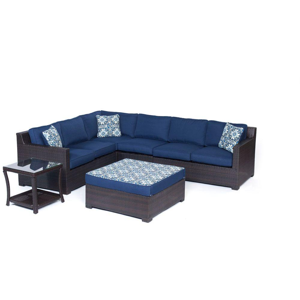 Metropolitan Brown 6-Piece Aluminum All-Weather Wicker Patio Deep Seating Set