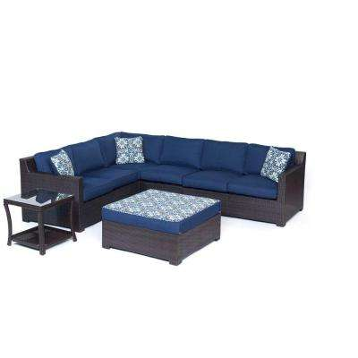 Metropolitan Brown 6-Piece Aluminum All-Weather Wicker Patio Deep Seating Set with Navy Blue Cushions
