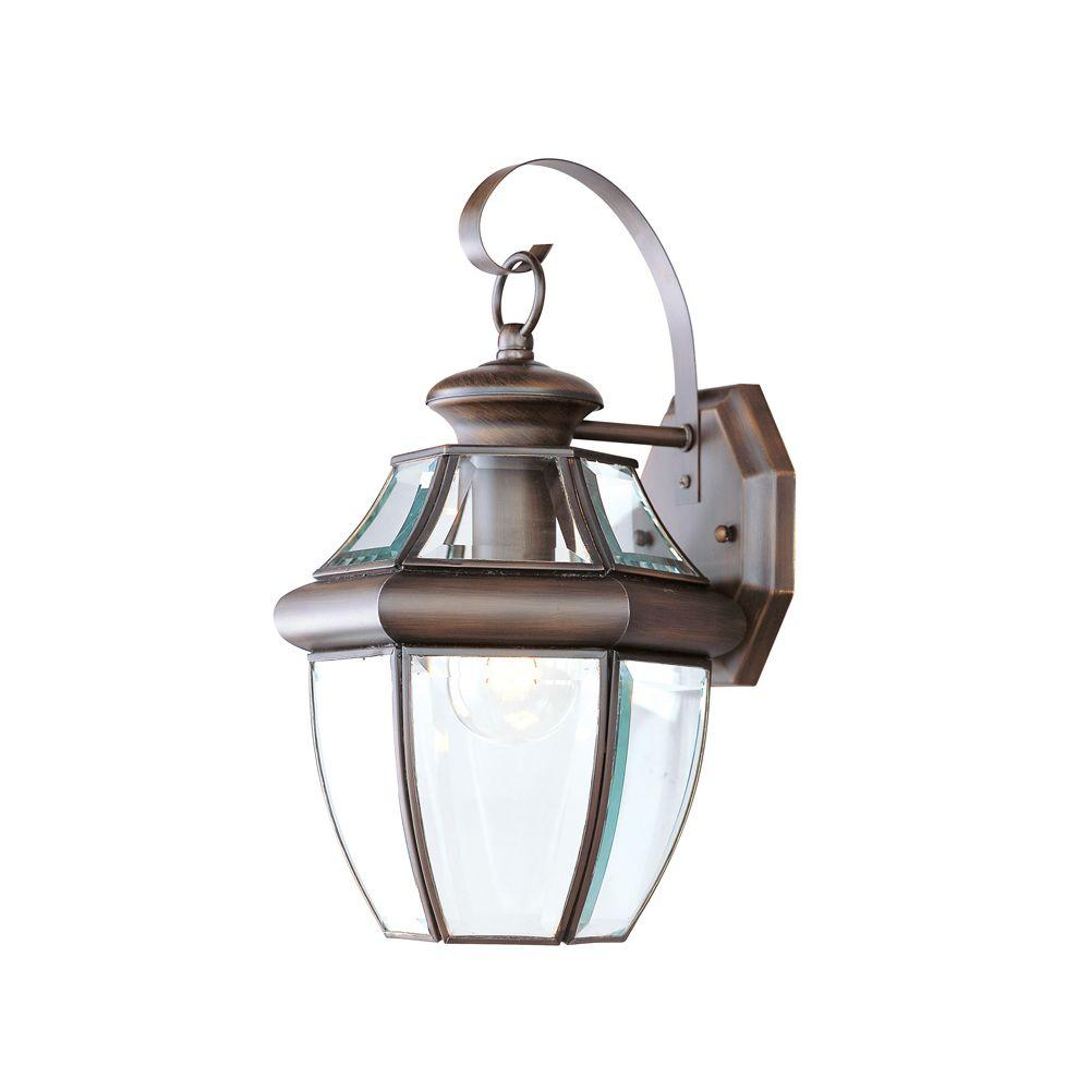 LIVEX 1-Light Bronze Outdoor Wall Lantern with Clear Beve...