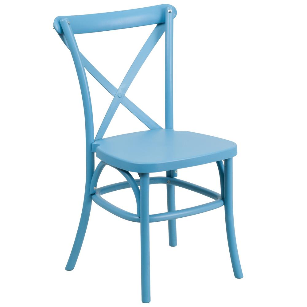 HERCULES Series Blue Resin Indoor-Outdoor Cross Back Chair with Steel Inner