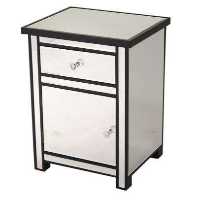 Shelly Assembled 19.29 in. x 19.29 in. x 15.75 in. Door Black Wood Accent Storage Cabinet with Glass Drawer