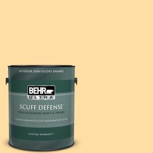 1 gal. #300A-3 Melted Butter Extra Durable Semi-Gloss Enamel Interior Paint & Primer