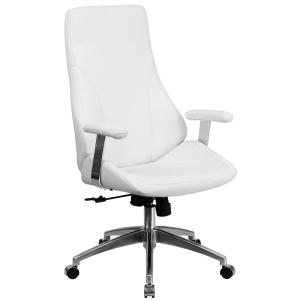 High Back White Leather Executive Swivel Office Chair
