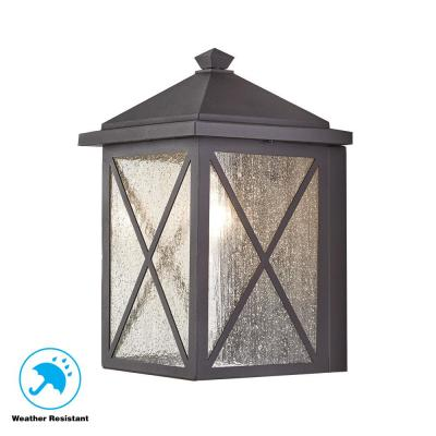 Home Decorators Collection Wythe 1 Light Black Outdoor Wall Lantern Sconce With Seeded Glass Jl160811 S The Home Depot
