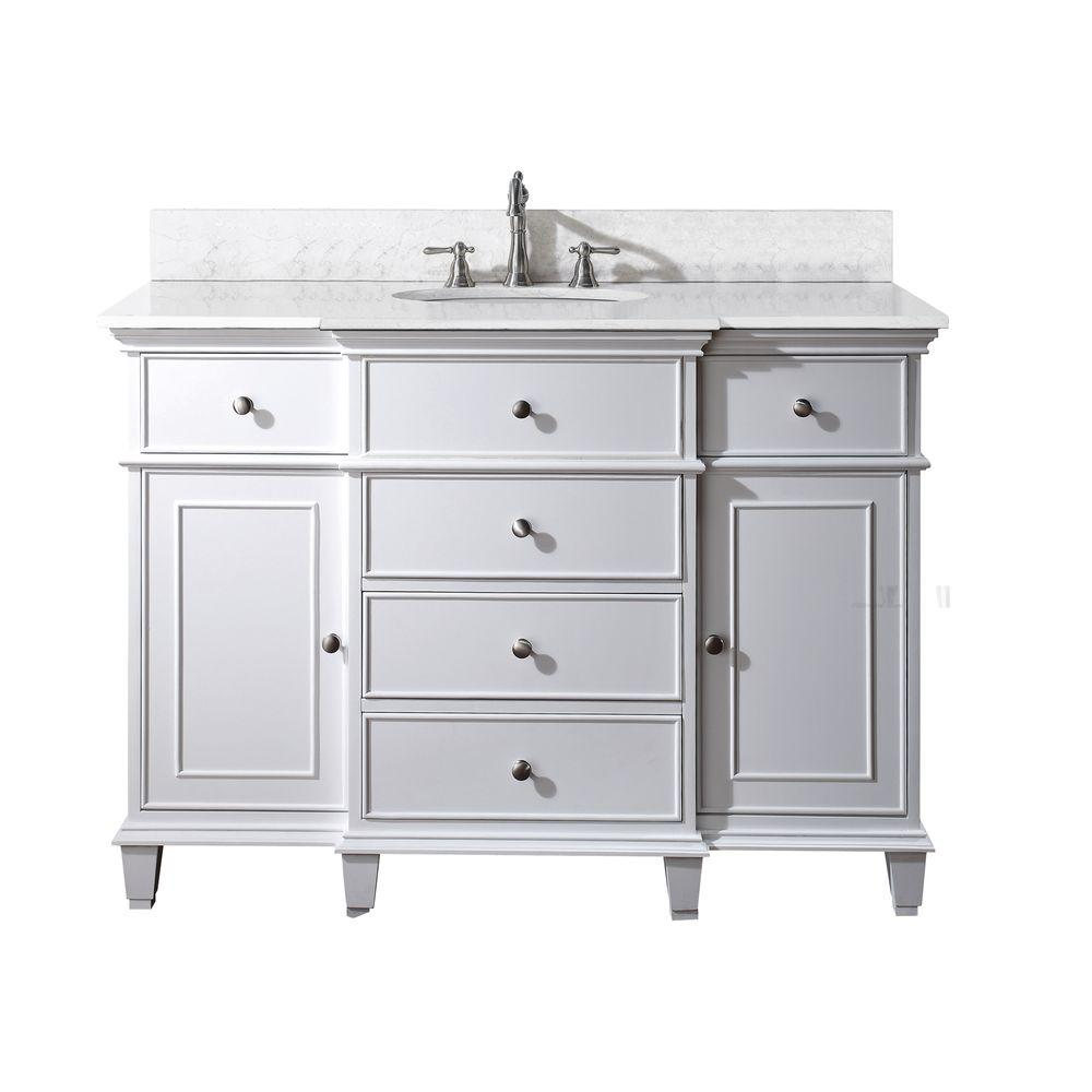 Avanity Windsor 49 in. W x 22 in. D x 35 in. H Vanity in White with Marble Vanity Top in Carrera White and White Basin