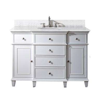 Windsor 49 in. W x 22 in. D x 35 in. H Vanity in White with Marble Vanity Top in Carrera White and White Basin