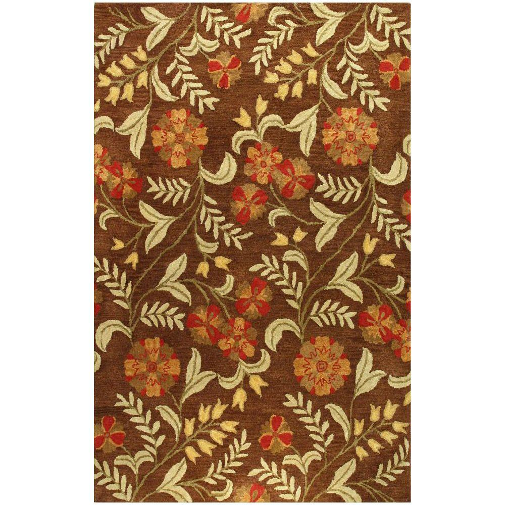 BASHIAN Chelsea Collection Red Patches Chocolate 2 ft. 6 in. x 8 ft. Area Rug