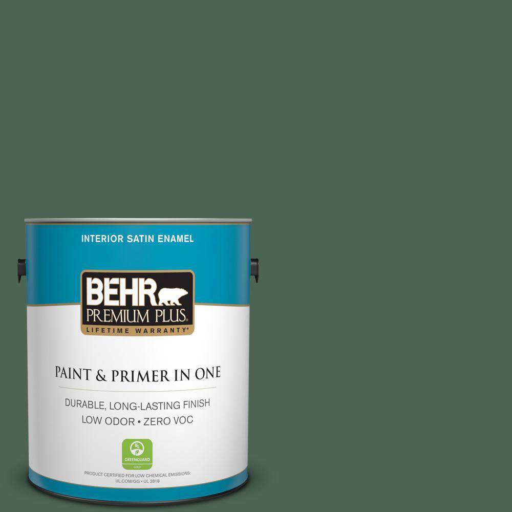 1 gal. #PPU11-19 Lakeside Pine Zero VOC Satin Enamel Interior Paint