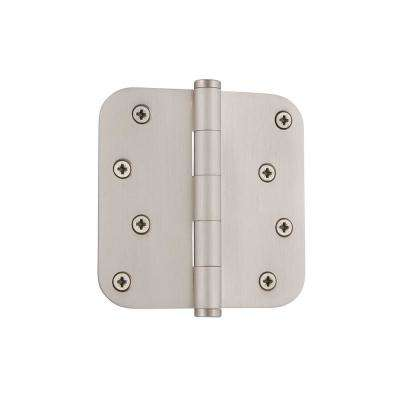 4 in. Button Tip Residential Hinge with 5/8 in. Radius Corners in Satin Nickel