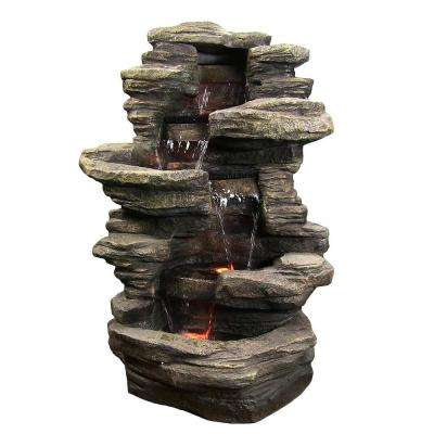 38 in. Stacked Shale Water Fountain with LED Lights