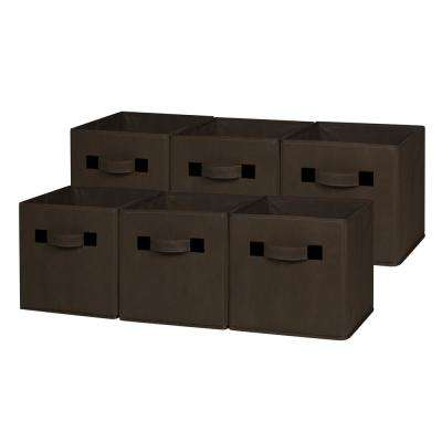 10.5 in. x 11 in. Chocolate Foldable Cloth Storage Cube (6-Pack)