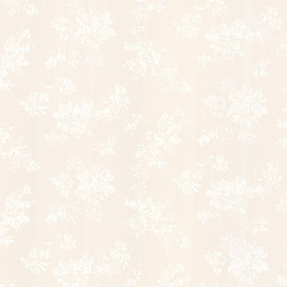 Tori Champagne Satin Floral Wallpaper Sample