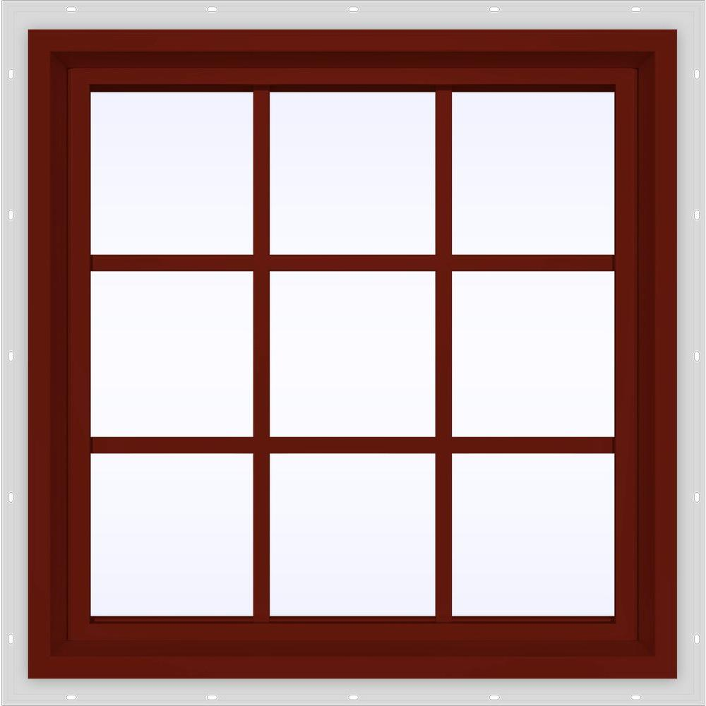 JELD-WEN 29.5 in. x 29.5 in. V-4500 Series Fixed Picture Vinyl Window with Grids in Red