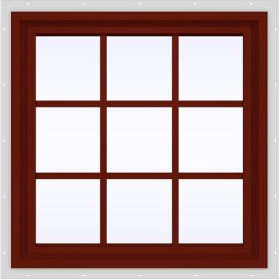 35.5 in. x 35.5 in. V-4500 Series Fixed Picture Vinyl Window with Grids in Red