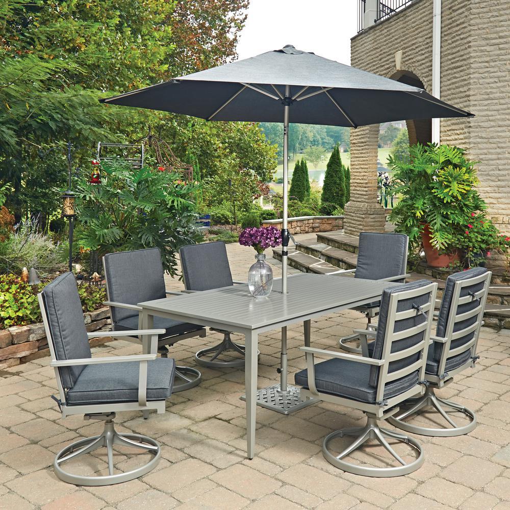 South Beach Grey 9-Piece Rectangular Extruded Aluminum Outdoor Dining Set with Gray Cushions