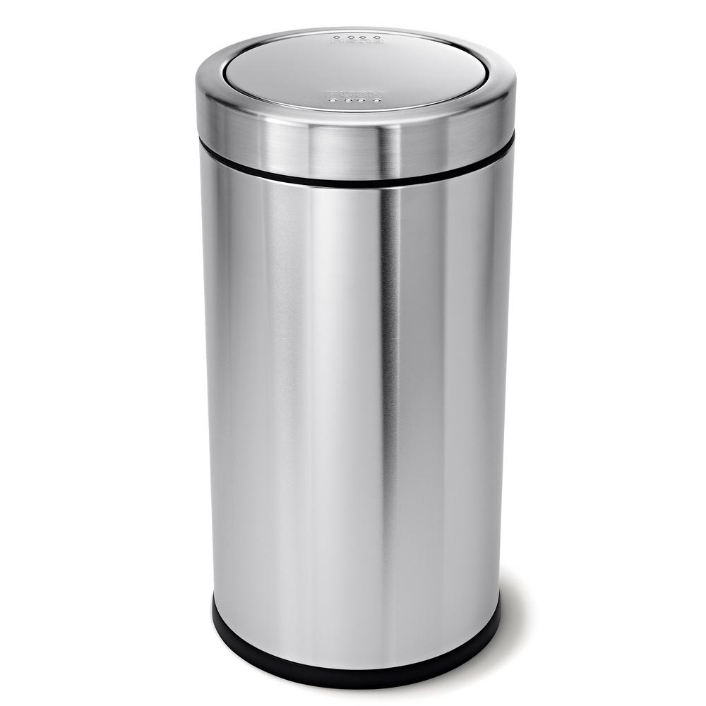 Stainless Steel Kitchen Garbage Can: Simplehuman 55-Liter Brushed Stainless Steel Swing Top