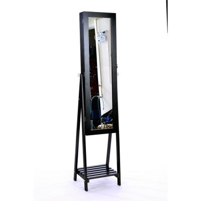 Jewelry Cabinet with Frame Mirror,Angle Adjustable Standing Jewelry Makeup Cabinets,Large Storage Box Cabinets,Black