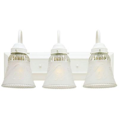 3-Light Interior White Wall Fixture with Embossed Floral and Leaf Design Glass