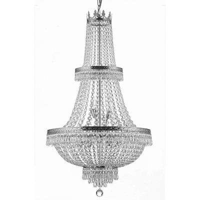 French Empire 15-Light Silver Chandelier with Crystal