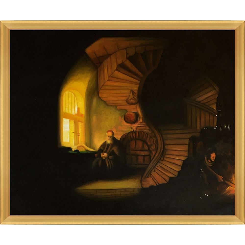 LA PASTICHE The Philosopher in Meditation with Piccino Luminoso Frameby Rembrandt Oil Painting, Multi-Colored was $798.0 now $355.4 (55.0% off)