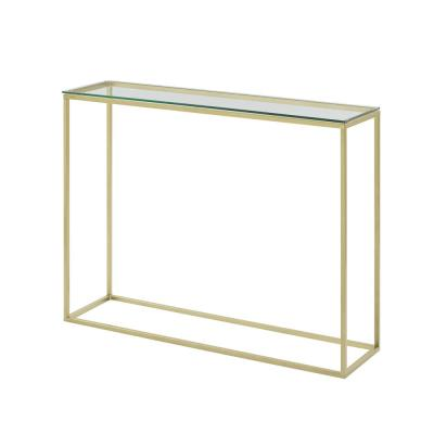 42 in. Glass/Gold Open Box Entry Table