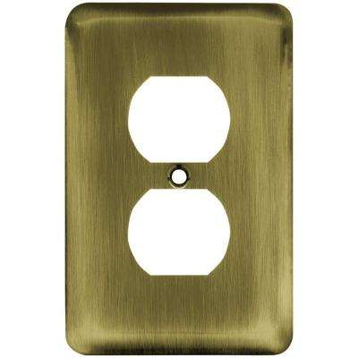 Stamped Round Decorative Single Duplex Outlet Cover, Antique Brass
