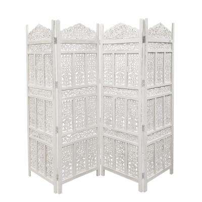 Aesthetically Carved Distressed White 4-Panel Wooden Partition Screen/Room Divider