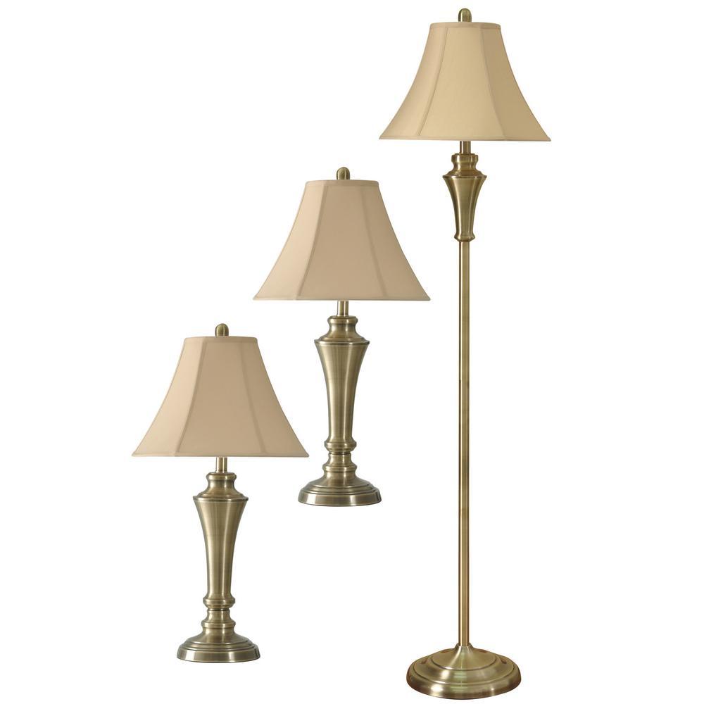 60 in. Antique Brass Lamp Set (3-Piece)