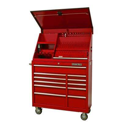 41 in. Portable Workstation and 11-Drawer Standard Roller Cabinet Combination, Red