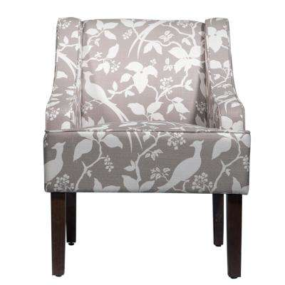 Cream Print On Brown Swoop Arm Accent Chair