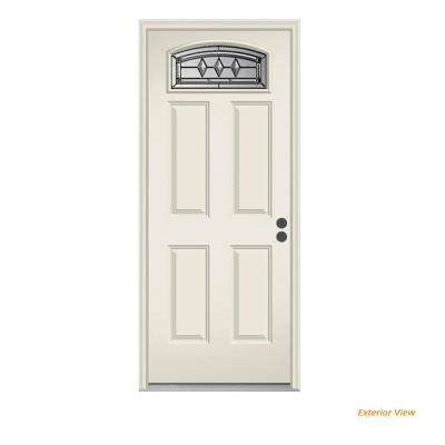 32 in. x 80 in. Camber Top Mission Prairie Primed Steel Prehung Left-Hand Inswing Front Door w/Brickmould