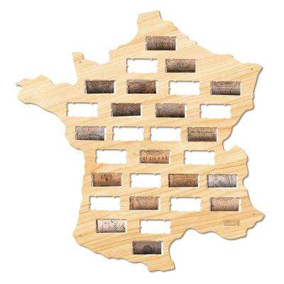 16 in. x 15.5 in. France Wine Cork Map