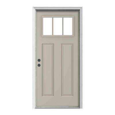 36 in. x 80 in. Craftsman Desert Sand Painted Steel Right-Hand Inswing 3-Lite Clear Prehung Front Door w/Brickmould
