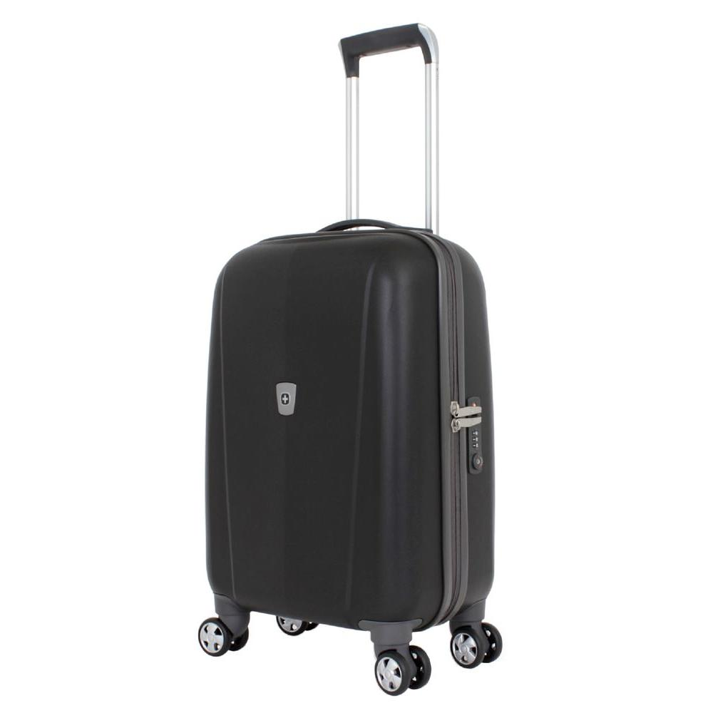 20 in. Upright Hardside Spinner Suitcase in Black
